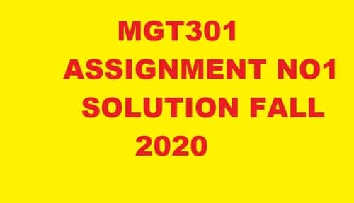 MGT301 ASSIGNMENT NO1 SOLUTION FALL 2020